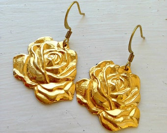 Rose Shaped Earrings • Rose Drop Earrings • Small Gold Rose Earrings • Small Gold Flower Rose Earrings • Beautiful Rose Earrings
