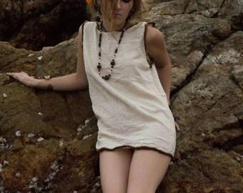 White khadi blouse tank - Bohemian Handstitched OOAK Gypsy top - Unique Designer Artist Clothing - Handmade - Handsewn Top