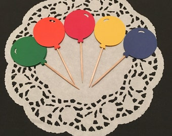 12 Balloon Cupcake Toppers