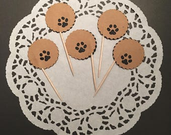 12 Animal Paw Cupcake Toppers