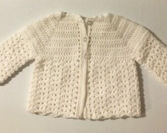 Crochet Baby Cardigan (White)