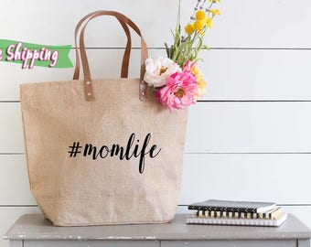 Mom Life Tote Bag, Mom Bag, Mom Tote Bag, Momlife,  Mom Tote, Tote Bag For Mom, Gift for Mom, Large Tote Bag with Pockets, Burlap Tote Bag