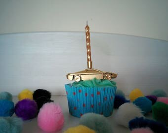 Car Cake Topper // Party and Cake Decor // Birthday Candle Holder  // Car Themed Party // Gold Car Candle Holder // Silver Car Candle Holder