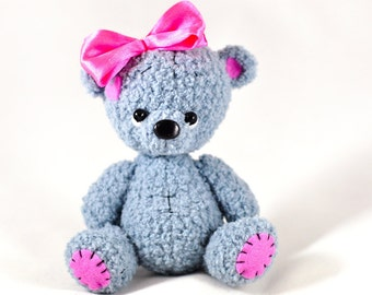 Gray Knitted bear Gray toy bear Knitted teddy bear Toy bear Crochet bear Teddy bears for sale Knitted teddy for girl
