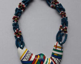 Wood Pendant Multicolored Statement Ethnic Accented Necklace