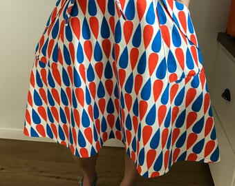 SALE - Blue and red Teardrop wrap skirt