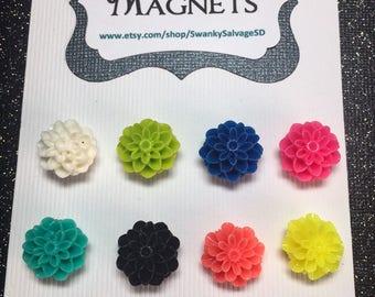 Floral Dome Magnet Set of 8.. Resin Flower Magnets.. Flower Magnets.. Dahlia Magnets