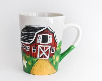 Red Barn Mug - Sheep Mug - Painted Mug - Hand Painted Cup - Mum Gift Rustic Decor Kitchen Decor Vermont Mug Farmhouse Farm Mug Vermont Sheep