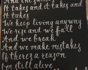 "Hamilton ""Wait for It"" handwritten calligraphy lyric"