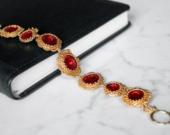 """System Bracelet  """"Queen""""  .With Swarovski Crystal   Color  Siam.  Best Gift for you .Made With Love .Gift."""