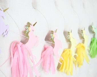 Unicorn banner, unicorn garland, unicorn paper tassels, unicorn party, unicorn invite, pastel tassel garland, tassel garland, rainbow banner