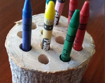 Tree trunk pencil holder