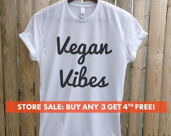 Vegan Vibes T-Shirt, Ladies Unisex Crewneck Shirt, Cute Vegan Shirt, Funny Vegan T-shirt, Gift