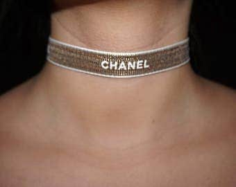 Gold Chanel choker, Gold Choker, Chanel necklace, Gold Chanel Jewelry, Chanel Jewelry, Gold Ribbon Chanel
