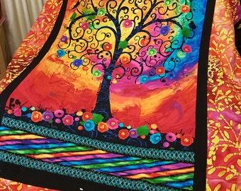 Handmade patchwork blanket quilt fantastia tree of life orange Love creations by Rach