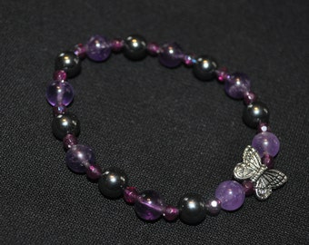 Amethyst and Hematite Butterfly Bracelet