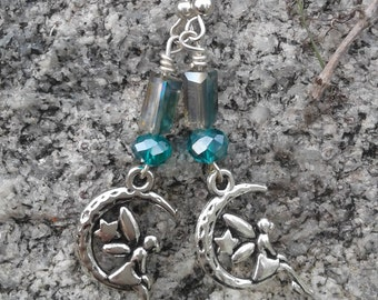 Fairy on The Moon Earrings with Swarovski Crystals