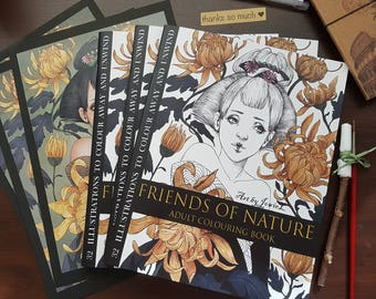 Friends of Nature Adult Colouring Book