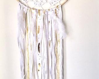 Crocheted White Feather Dream Catcher