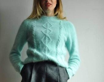 Hand knitted angora sweater - S-M