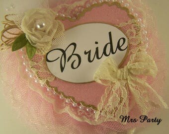 Pink and Ivory Bride To Be Corsage Pink and Lace Bridal Shower Badge Pink Bride To Be Corsage Pink Bridal Shower Decor Bachelorette Badge