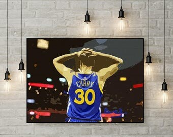 Stephen Curry, Print or Canvas, Golden State Wall Decor, Warriors Fan Gift, Steph Curry Picture, Basketball MVP Art Poster, Playoffs, Splash