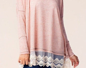 Pink oversized top with lace