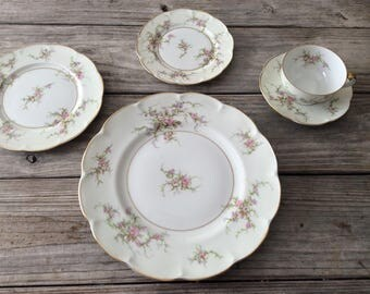 Theodore Haviland Antique China Rosalinde 5-Piece Place Setting for 8 Vintage  REDUCED  #81