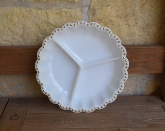 Vintage Milk Glass Divided Dish with Gold Dot Trim, Mid Century