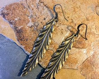 Bronze Thin Leaf Dangle Earrings