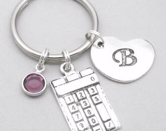 Calculator heart initial keyring | calculator keychain | personalised calculator keyring | maths keychain | maths keyring | maths gift