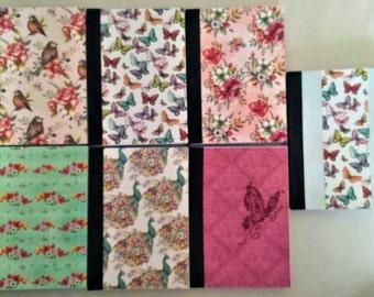 A6 notebooks lined paper, floral, birds, butterflies