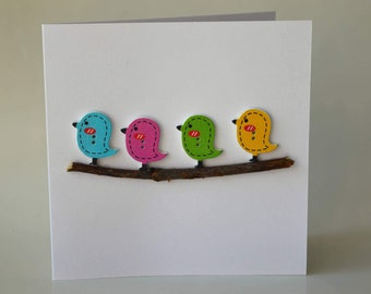 Bird wooden button greeting card with envelope 5x5