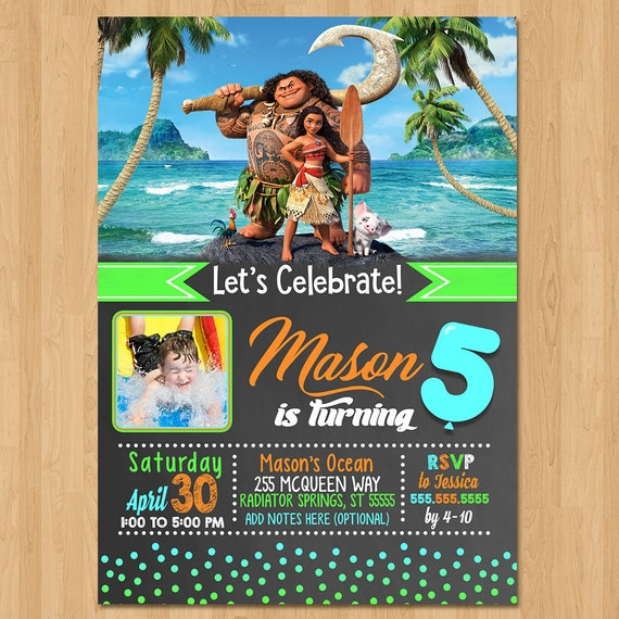 Moana Invite - Chalkboard Orange, Green, and Blue - Moana Birthday Party Invite - Moana Party Favors - Photo Invite - Moana Boy Invitation