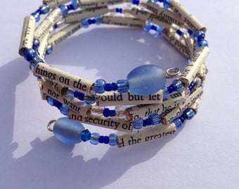 Blue Sense and Sensibility Book Bead Bracelet