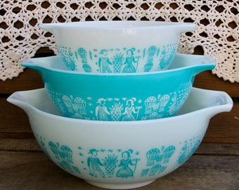 Pyrex Turquoise Butterprint - Pyrex Turquoise Amish Print - Pyrex Cinderella Turquoise Butterprint - Pyrex 441 442 443 - Pyrex Nesting Bowls