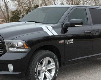 Dodge Ram Hash Marks Stripes hood Side Bars Decals Stickers Stripe