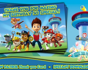 PAW PATROL Thank You Card,Paw Patrol Thank you favor,Printable Thank you notes,Party Supplies Instant Download,Birthday Boy Favors,Gift tags