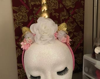 Pink White Gold Floral Unicorn Headband, newborn photo, Shabby Chic, Photo Prop, Birthday, photo booth, newborn headband, costume, fascinato