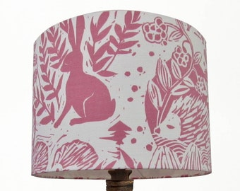 Clarke & Clarke Pink Hedgerow Handmade 20cm 30cm 40cm Drum Lampshade Perfect for a Nursery