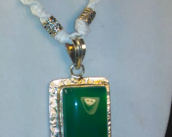 Handmade Hemp Necklace~ Green Onyx on Silver