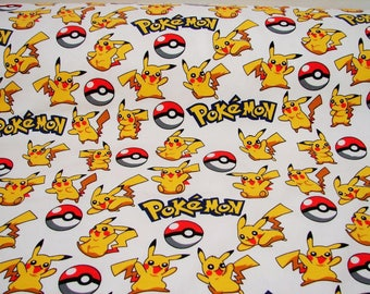 Pokemon fabric by the yard, pikachu Cotton fabric textile kids cotton natural sewing tools