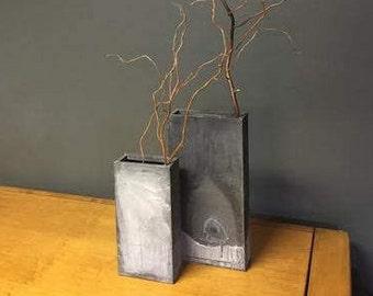 Distressed Metal Vases
