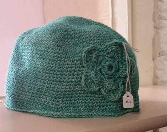 Crocheted Beanie hat with flower