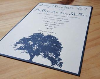 Navy Blue Bespoke Wedding Invitation & Envelope