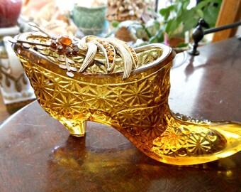Amber Fenton Glass Slipper & Vintage Brooches