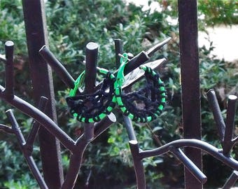 Neon cobweb earrings