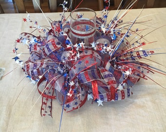Handmade 4TH of July Deco Mesh Table Centerpiece Red White & Blue