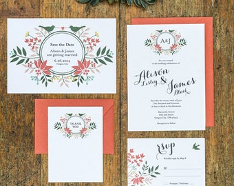 Floral Wreath Love Birds Wedding Invitation Set of 4 Printable