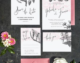 Botanical Foliage Lace Invitations Printable Template Suite of 4